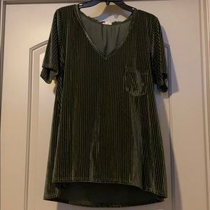 POL Olive Green Velour Striped Top